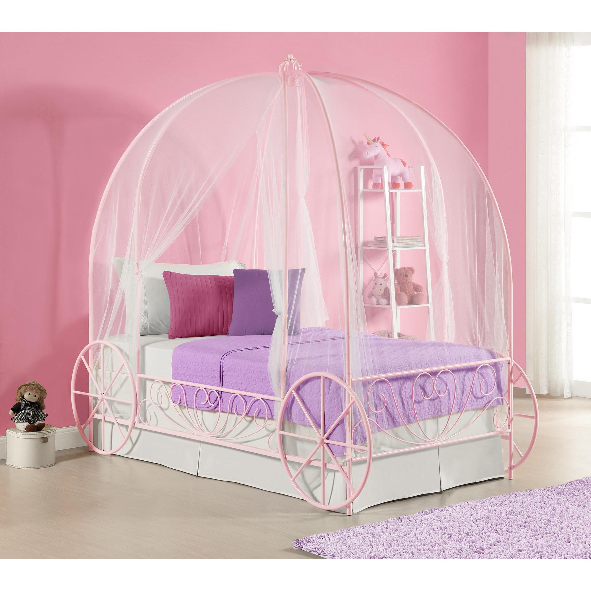 DHP Pink Metal Twin Carriage Bed (Twin bed, pink)