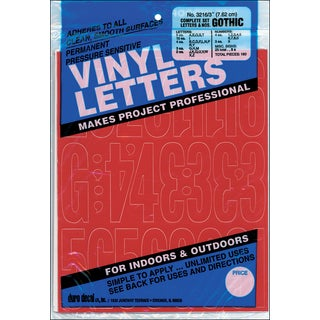 Permanent Adhesive Vinyl Letters & Numbers 3in 160/PkgRed