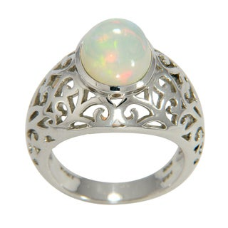 Sterling Silver Opal Filigree Dome Ring