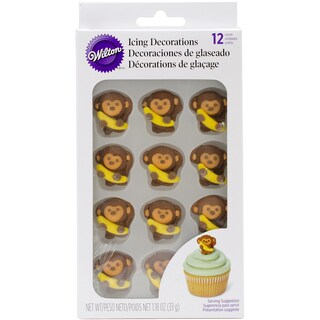 Monkeys with Bananas Icing Decorations (12 per package)