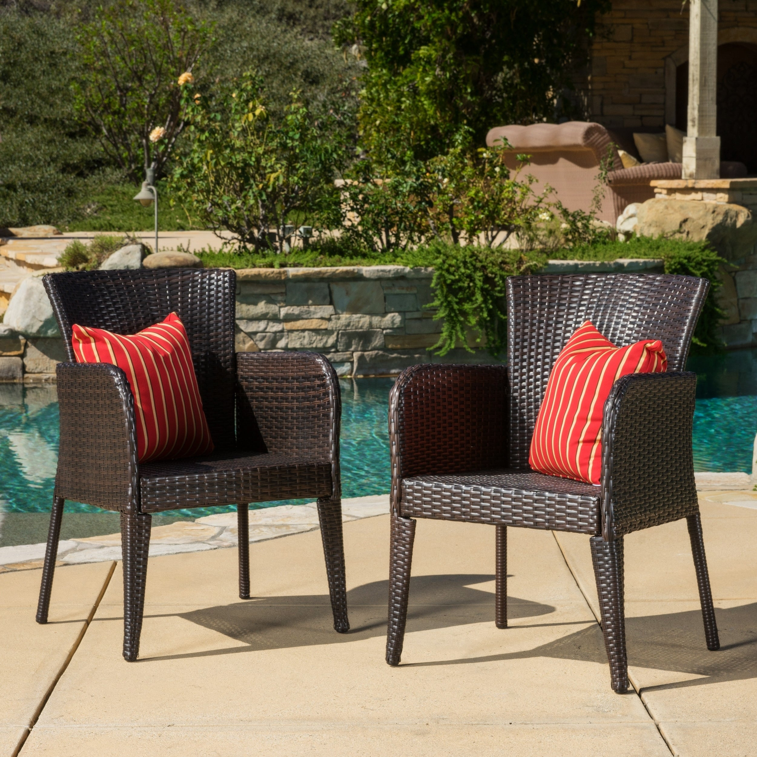 Anaya Outdoor Wicker Dining Chair Set Of 2 By Christopher Knight Home N A