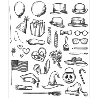 Tim Holtz Cling Rubber Stamp Set 7inX8.5inCrazy Things