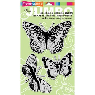 Stampendous Jumbo Cling Rubber Stamp 7inX5in SheetButterfly Trio