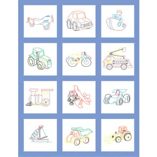 Stamped Baby Quilt Blocks 9inX9in 12/PkgToy Vehicle|https://ak1.ostkcdn.com/images/products/10574329/P17650802.jpg?impolicy=medium