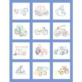 Stamped Baby Quilt Blocks 9inX9in 12/PkgToy Vehicle