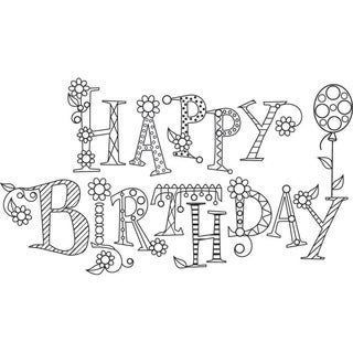 Mounted Rubber Stamp 2.5inX2.5inSparkle Happy Birthday