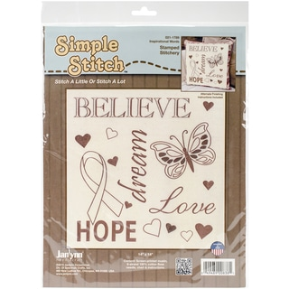 Simple Stitch Inspirational Words Stamped Embroidery Kit12inX12in Stitched In Floss