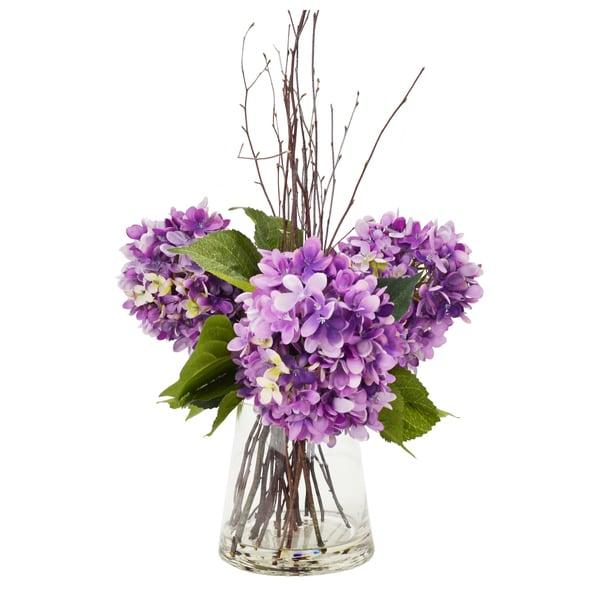 Contemporary Style Purple Hydrangea & Birch Stick Arrangement In A Water-Filled Glass Vase