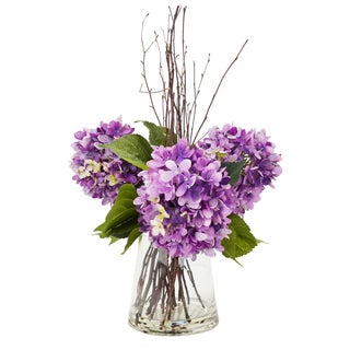 Contemporary Style Purple Hydrangea & Birch Stick Arrangement In A Water-Filled Glass Vase