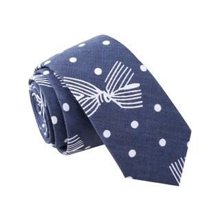 Skinny Tie Madness Men's 'Polka Stew' Navy Skinny Tie