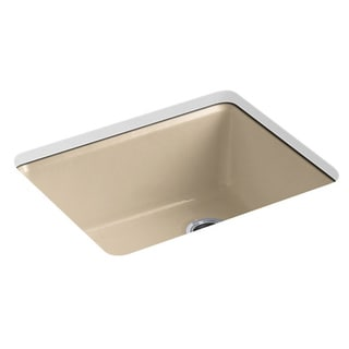 Kohler Riverby Undermount Cast Iron 25 inch 5-Hole Single Bowl Kitchen Sink in Mexican Sand