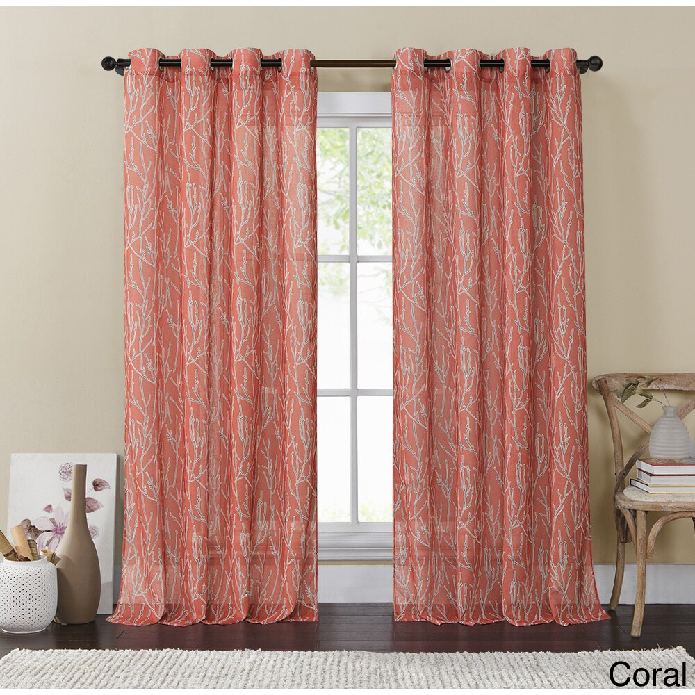 Vcny Adriana Grommet Curtain Panel - 54 x 84 (Coral), Ora...