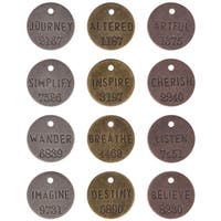Tim Holtz IdeaOlogy Philosophy Tags 1in 12/PkgAntique Nickel, Brass & Copper