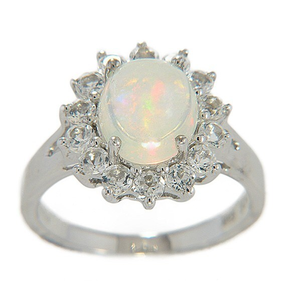 Sterling Silver Opal and White Topaz Ring