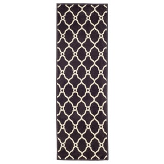 "Windsor Home Lattice Area Rug - Dark Brown & Ivory - 1'8""x5'"