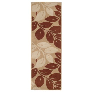 "Windsor Home Large Leaves Area Rug - Brown & Beige - 1'8""x5'"
