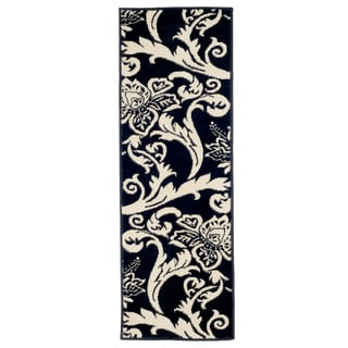 "Windsor Home Flowers Area Rug - Black & Ivory - 1'8""X5'"