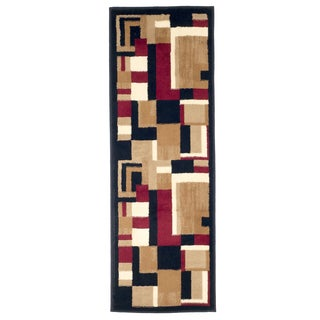 "Windsor Home Modern Block 1'8""x5' - Black & Red"