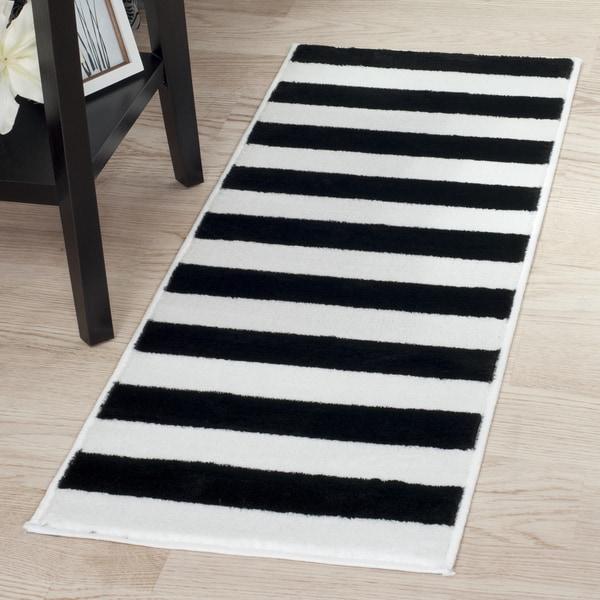 Windsor home breton stripe rug black white 1 39 8 x5 39 free shipping today - Black white striped carpet ...