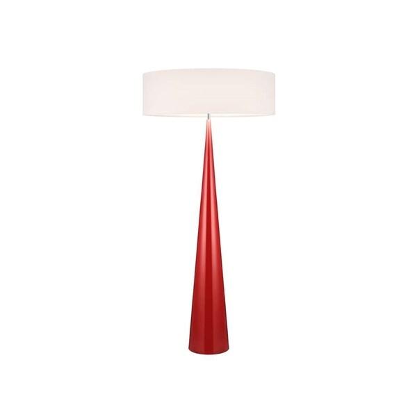 Sonneman Lighting Big Glossy Red Floor Cone Lamp, Off-White Shade