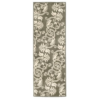 "Windsor Home Floral Scroll Area Rug - Green & Ivory - 1'8""x5"""