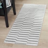 "Windsor Home Checkered Stripes Area Rug - 1'8""x5'"