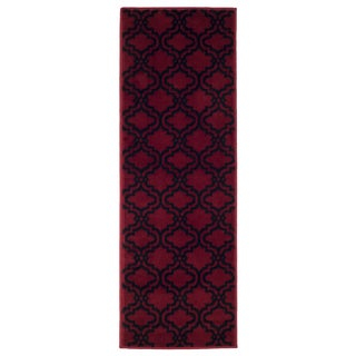 "Windsor Home Double Lattice Area Rug (1'8""x5') - Red & Black"