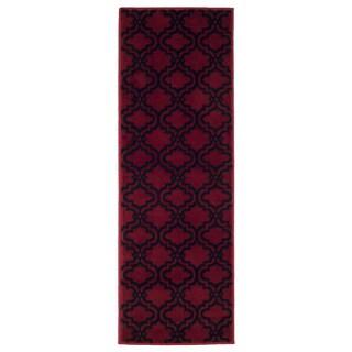 "Windsor Home Double Lattice Area Rug (1'8""x5') - Red & Black"