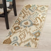 "Windsor Home Ikat Area Rug - Cream & Blue - 1'8""x5' - 1'8 x 5'"