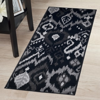 "Windsor Home Ikat Rug - Black & Grey - 1'8""x5'"