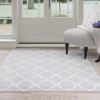 Windsor Home Lattice Area Rug - Grey & Ivory 8' x 10' - 8' x 10'