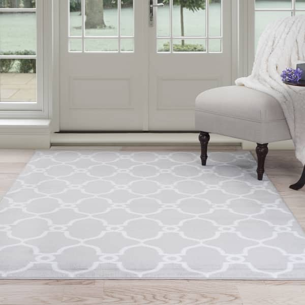 Lattice Area Rug Grey Ivory 8 X 10