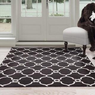 Windsor Home Lattice Area Rug - Dark Brown & Ivory 8' x 10'