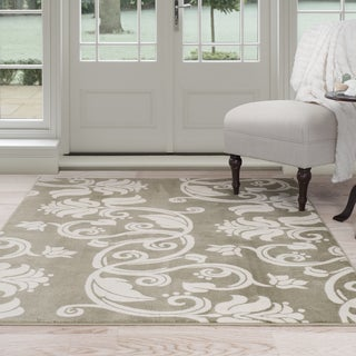 Windsor Home Floral Scroll Area Rug - Green & Ivory 8' x 10'