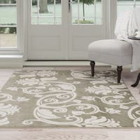 Windsor Home Floral Scroll Area Rug - Green & Ivory 8' x 10' - 8' x 10'