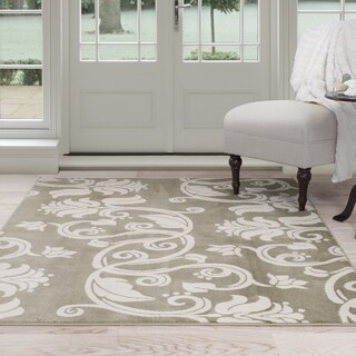 Windsor Home Floral Scroll Area Rug - Green & Ivory - 8' x 10'