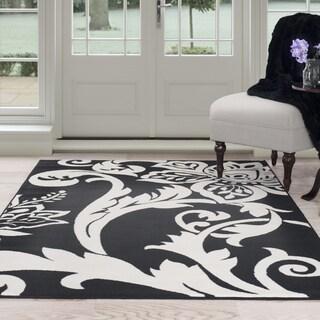 Windsor Home Flowers Area Rug - Black & Ivory 8' x 10'