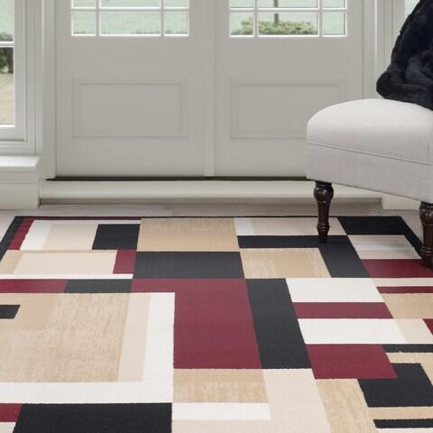Windsor Home Modern Block Area Rug - Black & Red - 4' x 6'