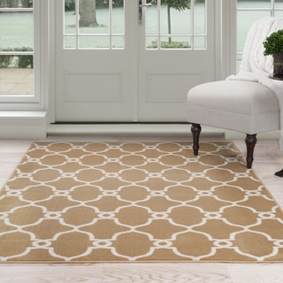 Windsor Home Lattice Area Rug - Dark Beige & Ivory 4' x 6'