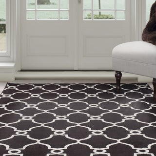 Windsor Home Lattice Area Rug - Dark Brown & Ivory 4' x 6'