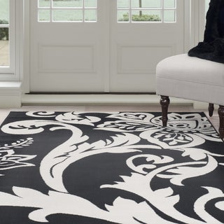 Windsor Home Flowers Area Rug - Black & Ivory 4' x 6'