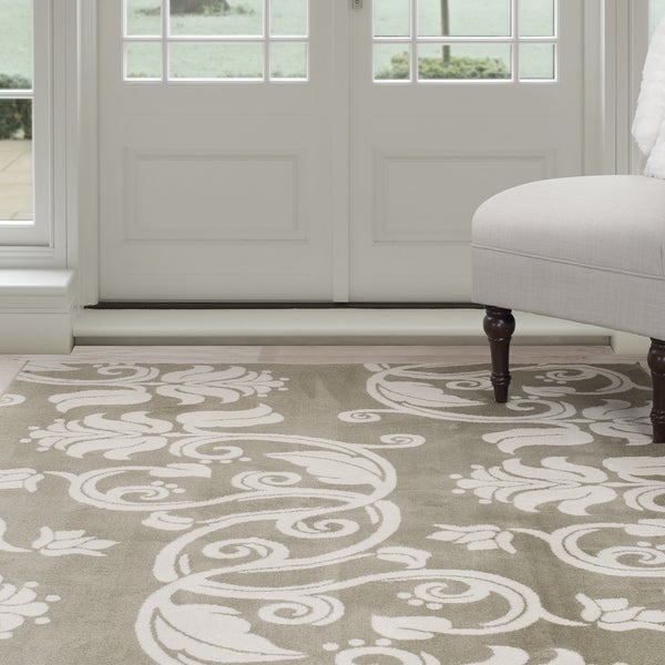 Windsor Home Floral Scroll Area Rug - Green & Ivory 4' x 6'