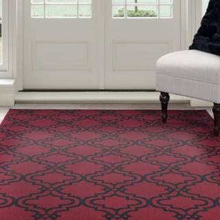 Windsor Home Red/Black Double Lattice Area Rug 4' x 6' - 4' x 6'