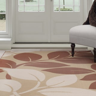 "Windsor Home Large Leaves Area Rug - Brown & Beige 3'3"" x 5'"
