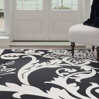 "Windsor Home Flowers Area Rug - Black & Ivory 3'3"" x 5'"