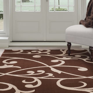 "Windsor Home Berber Leaves Area Rug - Brown & Tan 3'3"" x 5'"