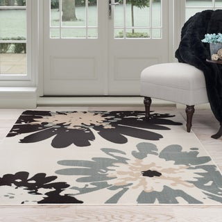Windsor Home Flower Area Rug - Blue & Ivory 4' x 6'