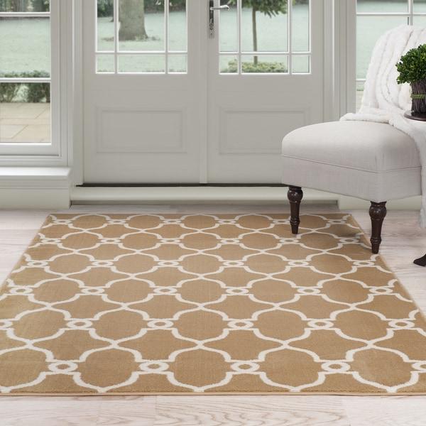 "Windsor Home Lattice Area Rug - Dark Beige & Ivory 3'3"" x 5'"