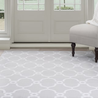 "Windsor Home Lattice Area Rug - Grey & Ivory 3'3"" x 5'"
