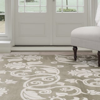 "Windsor Home Floral Scroll Area Rug - Green & Ivory 3'3"" x 5'"
